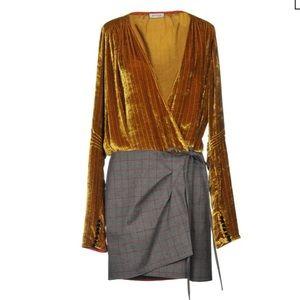 ATTICO Velvet And Plaid Plunging Gold-Grey Dress
